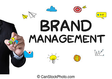 BRAND MANAGEMENT and Businessman drawing Landing Page on...