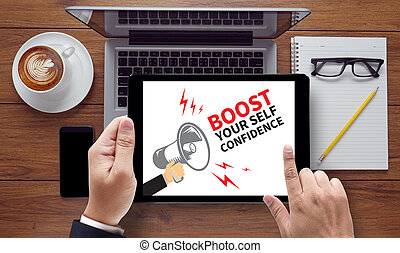 BOOST YOUR SELF CONFIDENCE Thoughtful male person looking to...