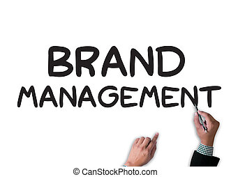 BRAND MANAGEMENT businessman work on white broad, top view