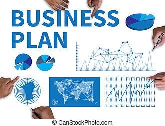 BUSINESS PLAN with wooden frame on white background.