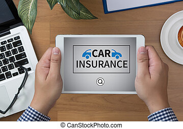 CAR INSURANCE man hand Tablet and coffee cup