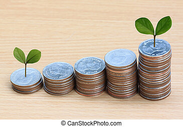 silver coin stack and treetop - silver coin stack and...