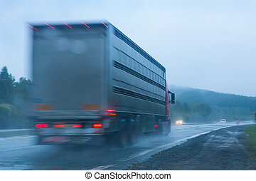 truck going on the highway to rain