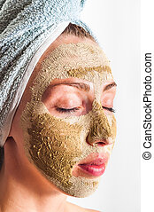 facial mask green mask on a white background