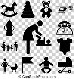 Child care modern vector icons set. Flat illustration