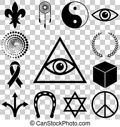 Religion, esoteric and mystery icons set. Vector...