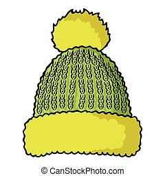 Knit cap icon in cartoon style isolated on white background....