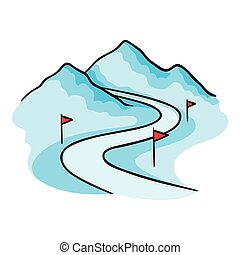 Ski track icon in cartoon style isolated on white background...
