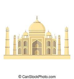 Taj Mahal icon in cartoon style isolated on white...