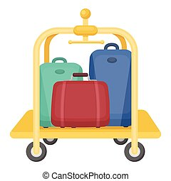 Luggage cart icon in cartoon style isolated on white...