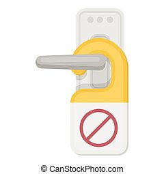 Do not disturb sign icon in cartoon style isolated on white background. Hotel symbol stock vector illustration.