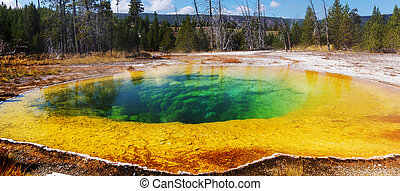 Morning Glory Pool - Colorful Morning Glory Pool - famous...