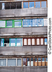 Soviet architecture with different windows