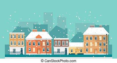 Winter town landscape