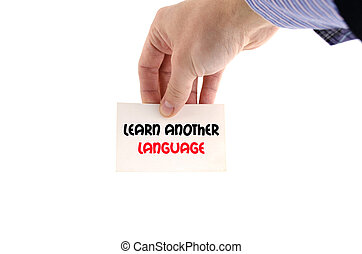 Learn another language text concept isolated over white...
