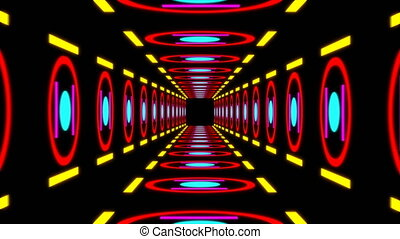Retro colorful tunnel. Seamless loop