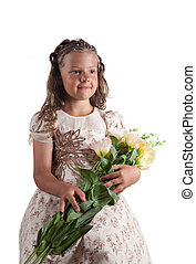 かわいい, わずかしか, おさげ, ヘアスタイル, 保有物, 女の子, 花