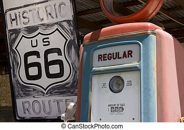 route 66 - Old style Gas station on the famous route 66 road...