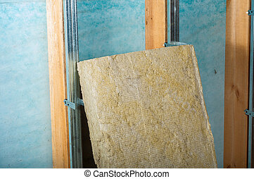 home insulation on a green background