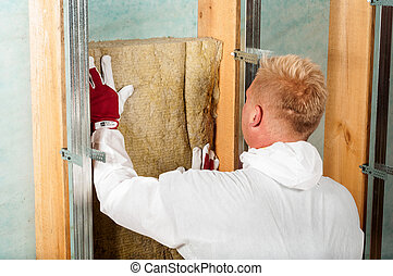 home insulation working man carpenter