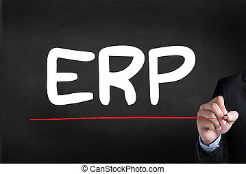 ERP as Emergency Response Procedures Businessman drawing...