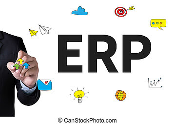 ERP as Emergency Response Procedures and Businessman drawing...