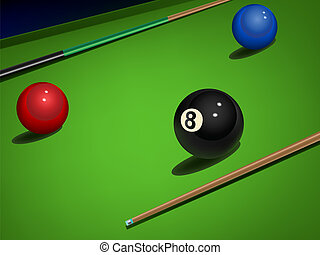 snooker - vector realistic snooker illustration with balls...