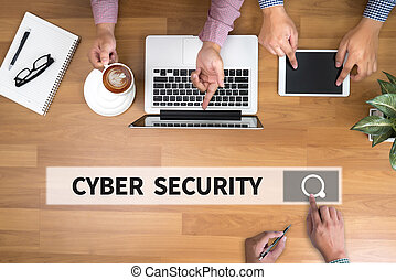 CYBER SECURITY man touch bar search and Two Businessman...