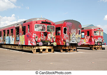 Old graffiti trains - Old trains with graffiti