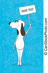 Cartoon ridiculous dog holds the plate with an inscription. A template for the announcement. Amusing banner. Vector illustration