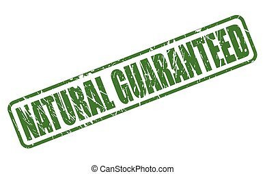 NATURAL GUARANTEED green stamp text on white