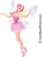 Pink fairy with butterfly wings flying and presenting. Vector illustration.