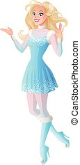 Woman in winter fairy costume presenting showing OK sign gesture