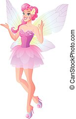 Pink fairy with butterfly wings showing ok sign. Vector illustration.