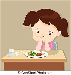 girl bored with food - child eating boring food.Cute little...