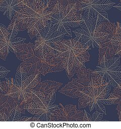Chestnut autumn leaves seamless pattern