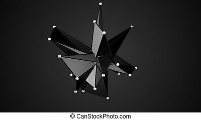 Black Fractal Geometric, Polygonal or Lowpoly Style Black...