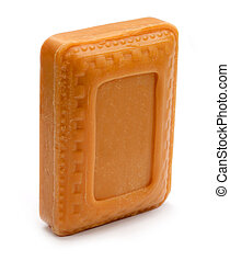 Natural sandal soap over white background
