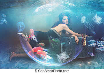 under water seabed fantasy woman