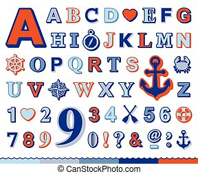 Marine alphabet and number set with nautical icons