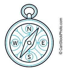 Compass icon outline drawing - Circular compass icon outline...