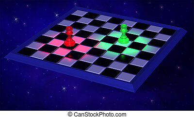 3D Illustration. Modern Chessboard with blue and green...