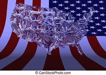 3D Illustration USA map made from glass on background...