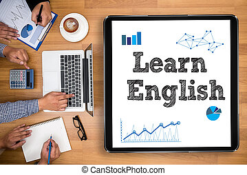 Learn English Business team hands at work with financial...