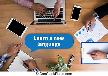Learn a new language Business team hands at work with...