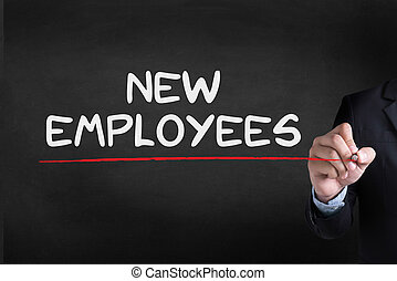 NEW EMPLOYEES Businessman drawing Landing Page on...