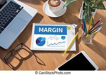 MARGIN open book on table and coffee Business