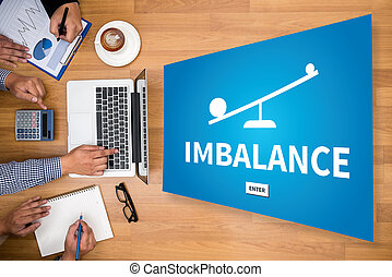 IMBALANCE Business team hands at work with financial reports...