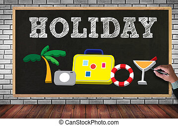 HOLIDAY HOMEPAGE on brick wall and chalkboard background
