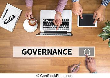 GOVERNANCE man touch bar search and Two Businessman working...